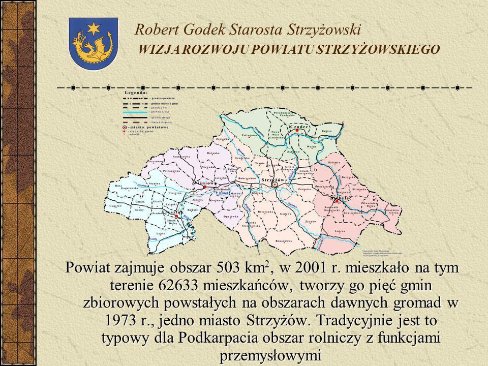 Powiat zajmuje obszar 503 km 2, w 2001 r. mieszkało na tym terenie 62633 mieszkańców, tworzy go pięć gmin zbiorowych powstałych na obszarach dawnych g