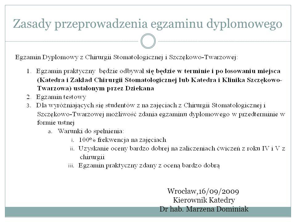 Zasady przeprowadzenia egzaminu dyplomowego Wrocław,16/09/2009 Kierownik Katedry Dr hab. Marzena Dominiak