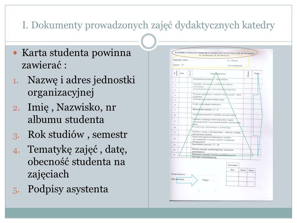 I. Dokumenty prowadzonych zajęć dydaktycznych katedry Karta studenta powinna zawierać : 1. Nazwę i adres jednostki organizacyjnej 2. Imię, Nazwisko, n