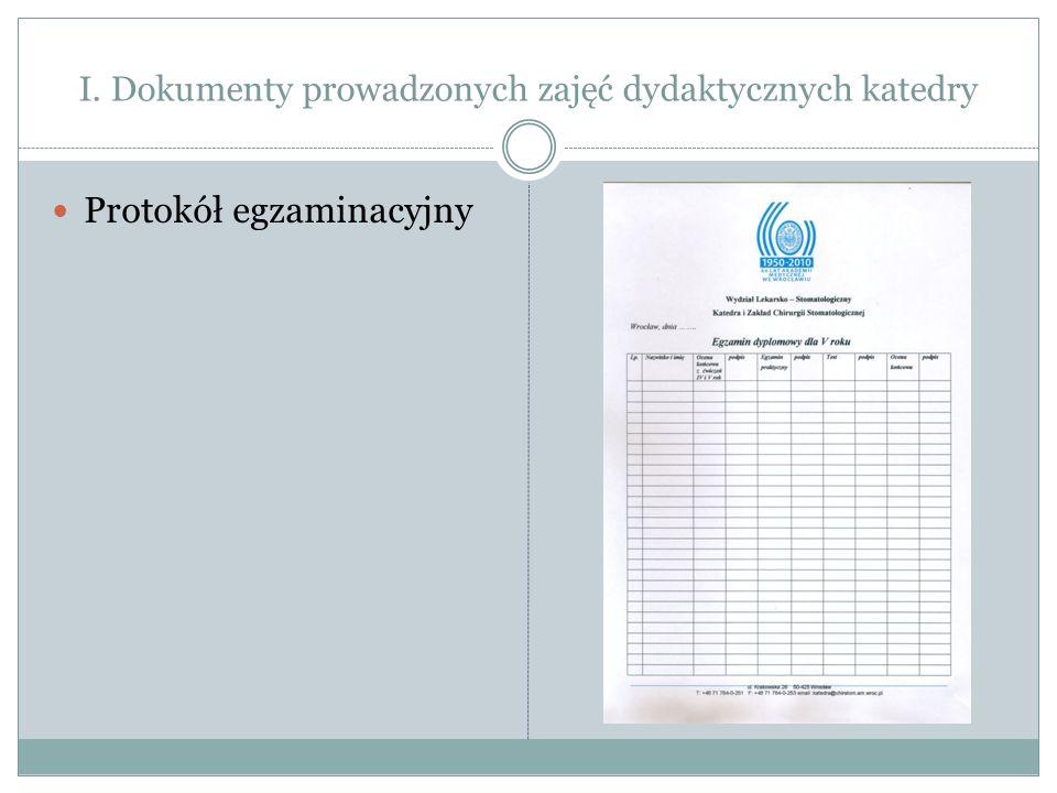 I. Dokumenty prowadzonych zajęć dydaktycznych katedry Protokół egzaminacyjny