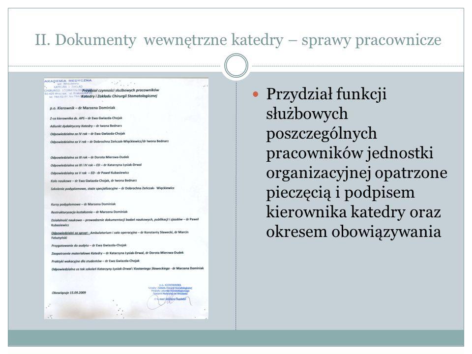 II. Dokumenty wewnętrzne katedry – sprawy pracownicze Przydział funkcji służbowych poszczególnych pracowników jednostki organizacyjnej opatrzone piecz