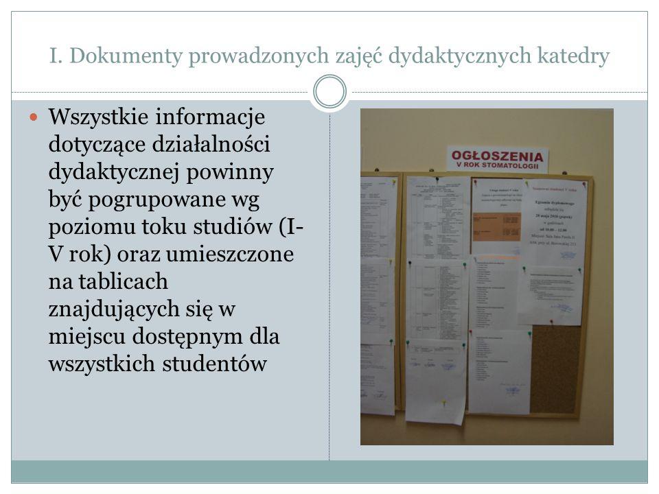 I. Dokumenty prowadzonych zajęć dydaktycznych katedry Wszystkie informacje dotyczące działalności dydaktycznej powinny być pogrupowane wg poziomu toku