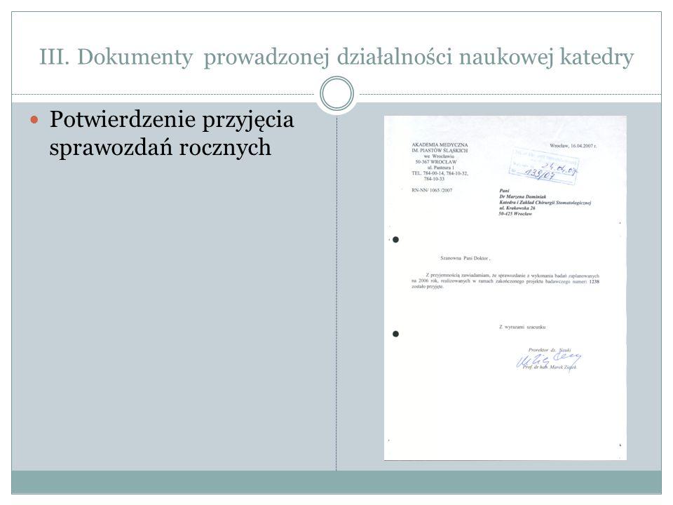 III. Dokumenty prowadzonej działalności naukowej katedry Potwierdzenie przyjęcia sprawozdań rocznych