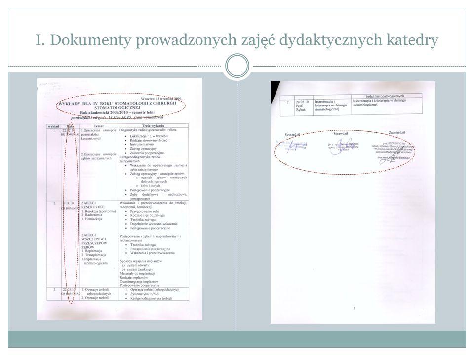 III. Dokumenty prowadzonej działalności naukowej katedry Opinia o projekcie badawczym