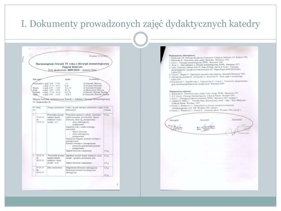 Opinia c.d. III. Dokumenty prowadzonej działalności naukowej katedry