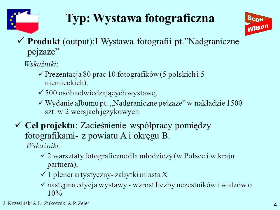 J. Krzesiński & L. Żukowski & P. Zejer Typ: Wystawa fotograficzna 4 Produkt (output):I Wystawa fotografii pt.Nadgraniczne pejzaże Wskaźniki: Prezentac