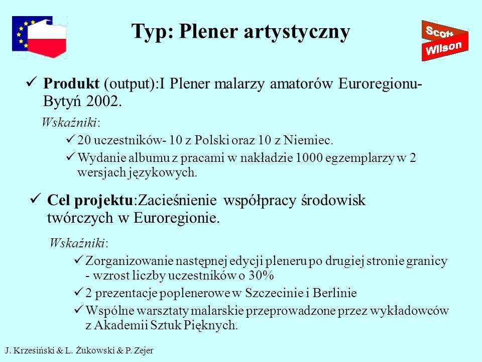 J. Krzesiński & L. Żukowski & P. Zejer Typ: Plener artystyczny Produkt (output):I Plener malarzy amatorów Euroregionu- Bytyń 2002. Wskaźniki: 20 uczes