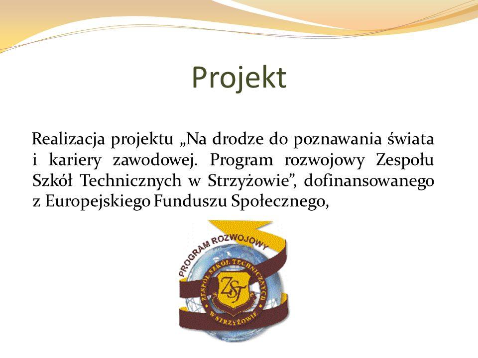 Projekt Realizacja projektu Na drodze do poznawania świata i kariery zawodowej. Program rozwojowy Zespołu Szkół Technicznych w Strzyżowie, dofinansowa