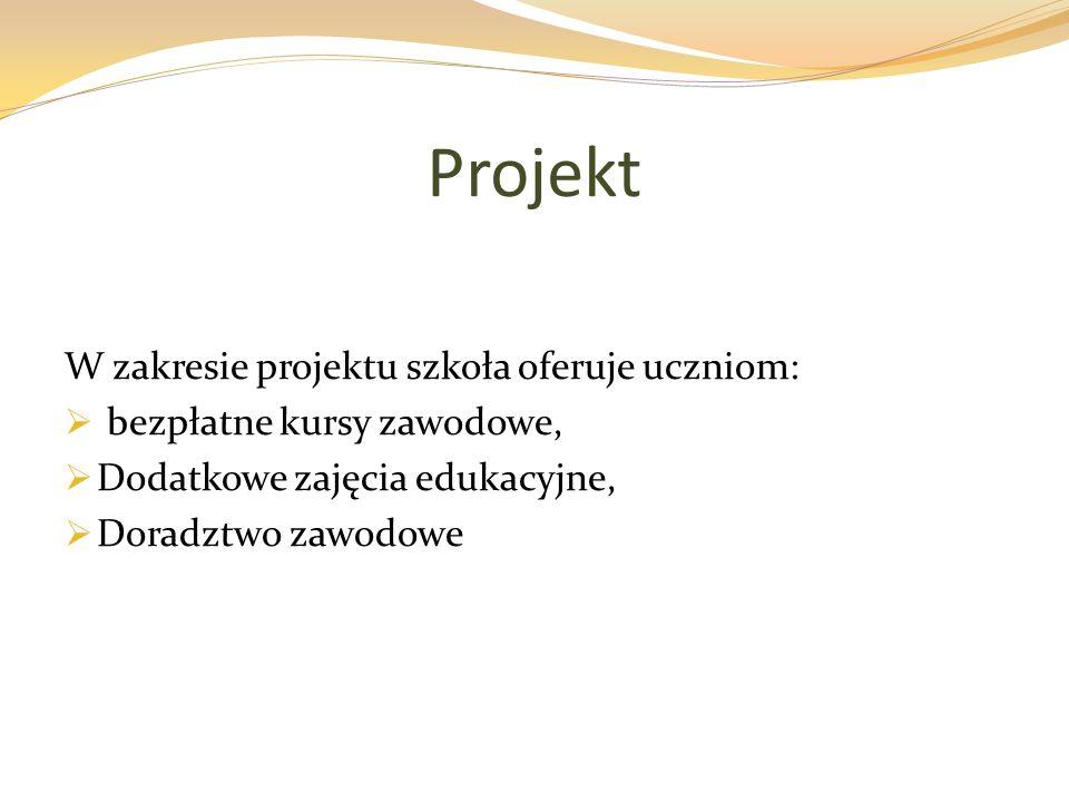 Projekt W zakresie projektu szkoła oferuje uczniom: bezpłatne kursy zawodowe, Dodatkowe zajęcia edukacyjne, Doradztwo zawodowe
