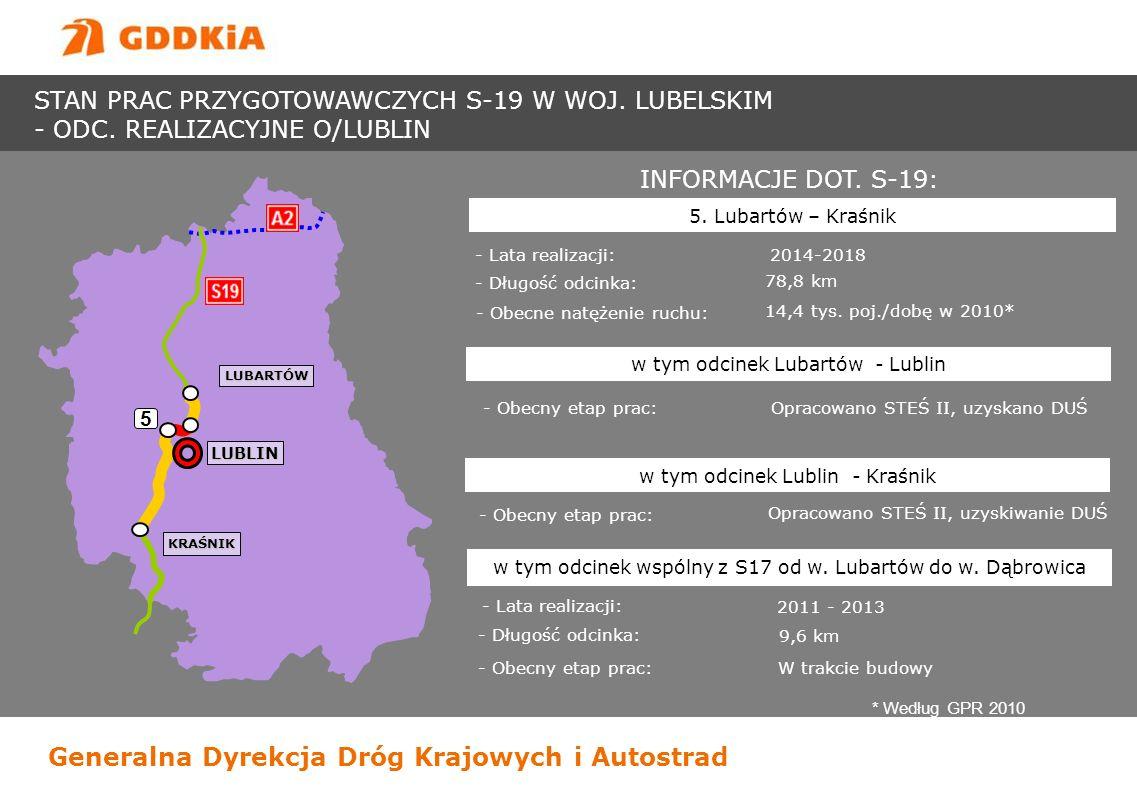 Generalna Dyrekcja Dróg Krajowych i Autostrad INFORMACJE DOT. S-19: - Lata realizacji: 2014-2018 - Długość odcinka: 78,8 km 5. Lubartów – Kraśnik - Ob