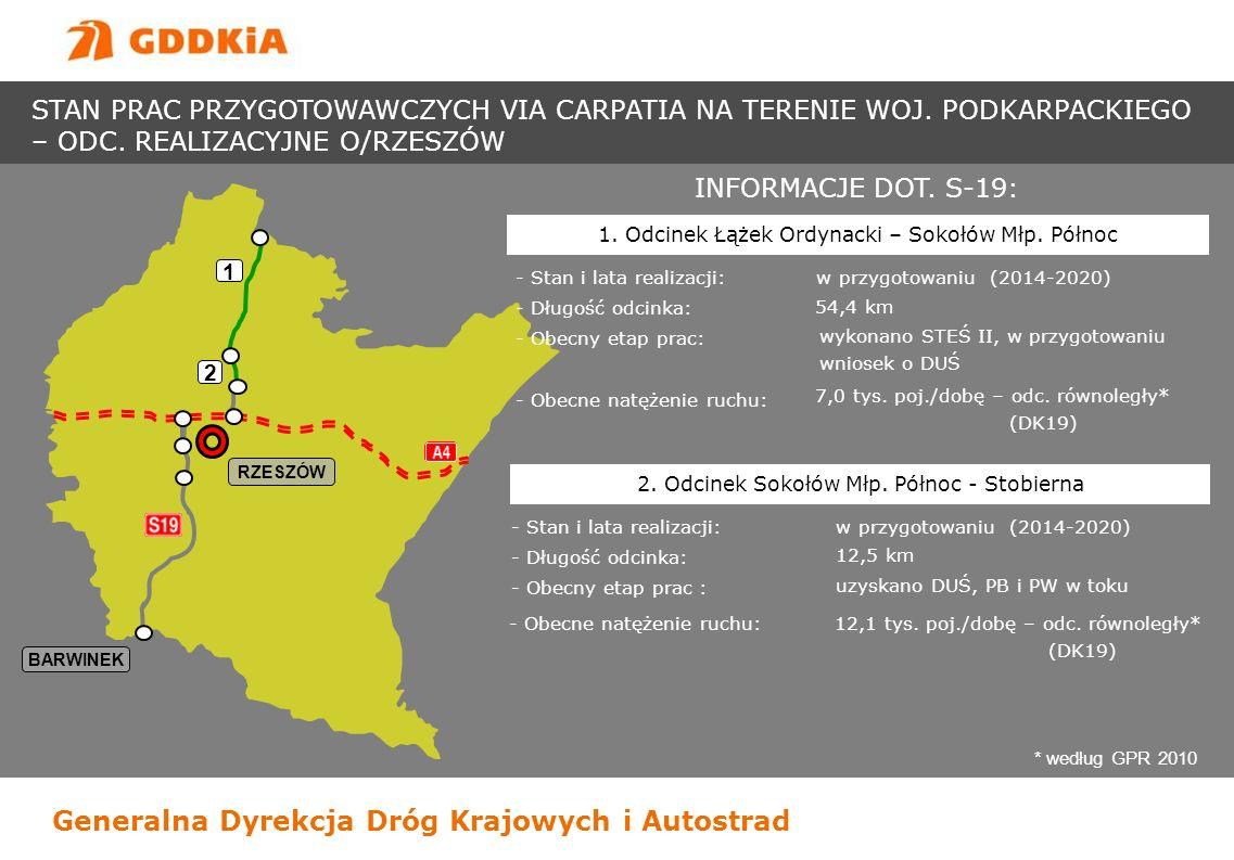 Generalna Dyrekcja Dróg Krajowych i Autostrad BARWINEK RZESZÓW 1 INFORMACJE DOT. S-19: - Stan i lata realizacji: w przygotowaniu (2014-2020) - Długość