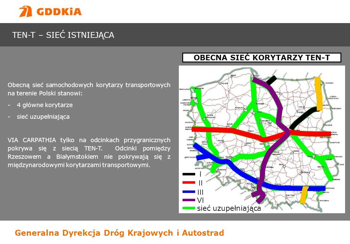 Generalna Dyrekcja Dróg Krajowych i Autostrad Obecną sieć samochodowych korytarzy transportowych na terenie Polski stanowi: -4 główne korytarze -sieć