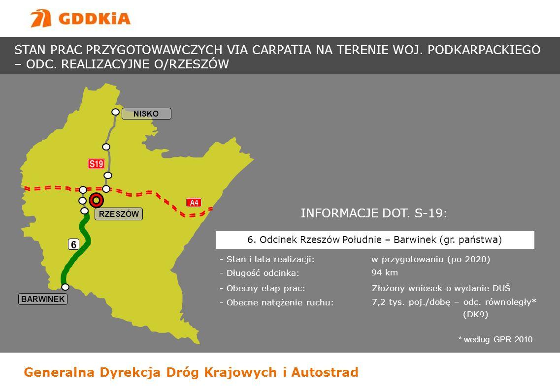 Generalna Dyrekcja Dróg Krajowych i Autostrad BARWINEK RZESZÓW 6 NISKO INFORMACJE DOT. S-19: - Stan i lata realizacji: w przygotowaniu (po 2020) - Dłu
