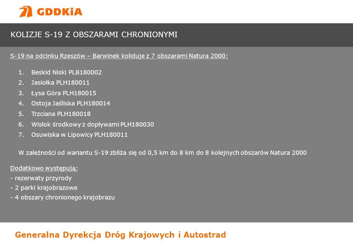 Generalna Dyrekcja Dróg Krajowych i Autostrad KOLIZJE S-19 Z OBSZARAMI CHRONIONYMI S-19 na odcinku Rzeszów – Barwinek koliduje z 7 obszarami Natura 20
