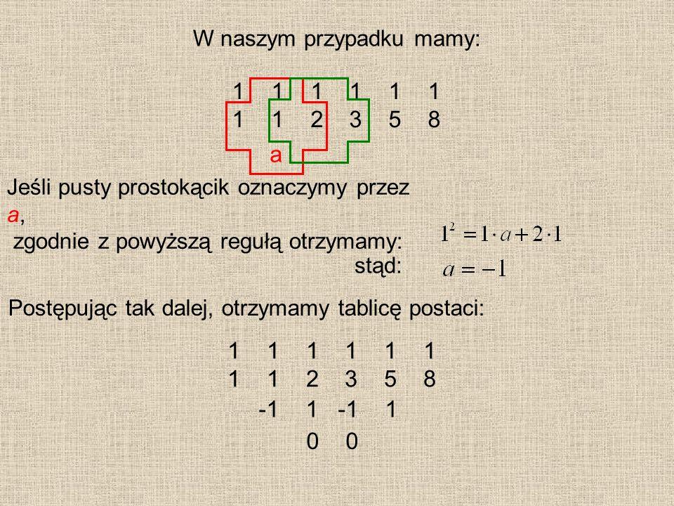 W naszym przypadku mamy: 1 1 1 1 1 2 3 5 8 a Jeśli pusty prostokącik oznaczymy przez a, zgodnie z powyższą regułą otrzymamy: stąd: Postępując tak dale