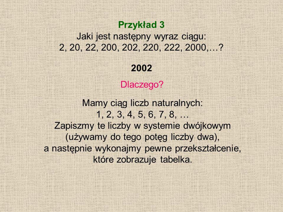 Przykład 3 Jaki jest następny wyraz ciągu: 2, 20, 22, 200, 202, 220, 222, 2000,…? Dlaczego? Mamy ciąg liczb naturalnych: 1, 2, 3, 4, 5, 6, 7, 8, … Zap