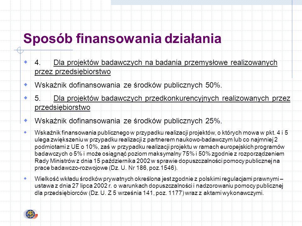 Sposób finansowania działania 4.Dla projektów badawczych na badania przemysłowe realizowanych przez przedsiębiorstwo Wskaźnik dofinansowania ze środków publicznych 50%.