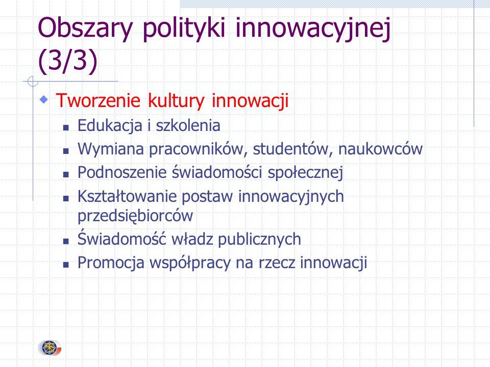 Obszary polityki innowacyjnej (3/3) Tworzenie kultury innowacji Edukacja i szkolenia Wymiana pracowników, studentów, naukowców Podnoszenie świadomości społecznej Kształtowanie postaw innowacyjnych przedsiębiorców Świadomość władz publicznych Promocja współpracy na rzecz innowacji
