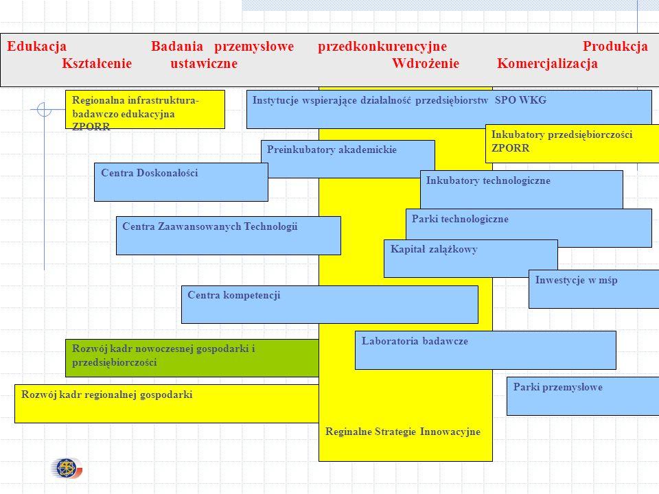 Rozwój kadr nowoczesnej gospodarki i przedsiębiorczości Rozwój kadr regionalnej gospodarki Reginalne Strategie Innowacyjne Regionalna infrastruktura- badawczo edukacyjna ZPORR Instytucje wspierające działalność przedsiębiorstw SPO WKG Preinkubatory akademickie Parki przemysłowe Parki technologiczne Kapitał zalążkowy Centra Zaawansowanych Technologii Inkubatory technologiczne Inkubatory przedsiębiorczości ZPORR Centra Doskonałości Centra kompetencji Laboratoria badawcze Inwestycje w mśp Edukacja Badania przemysłowe przedkonkurencyjne Produkcja Kształcenie ustawiczne Wdrożenie Komercjalizacja