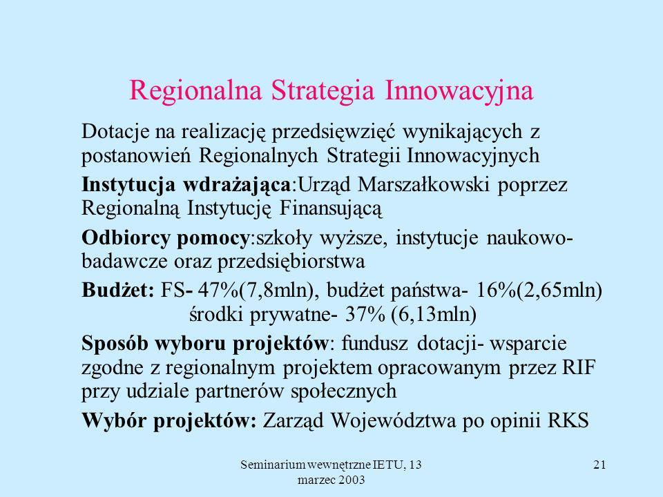 Seminarium wewnętrzne IETU, 13 marzec 2003 20 Regionalna Strategia Innowacyjna Główny cel: wzmocnienie i wykorzystanie potencjału regionalnego sektora akademickiego i naukowo- badawczego dla rozwoju przedsiębiorczości i wzmocnienia konkurencyjności przedsiębiorstw działających na lokalnym rynku.