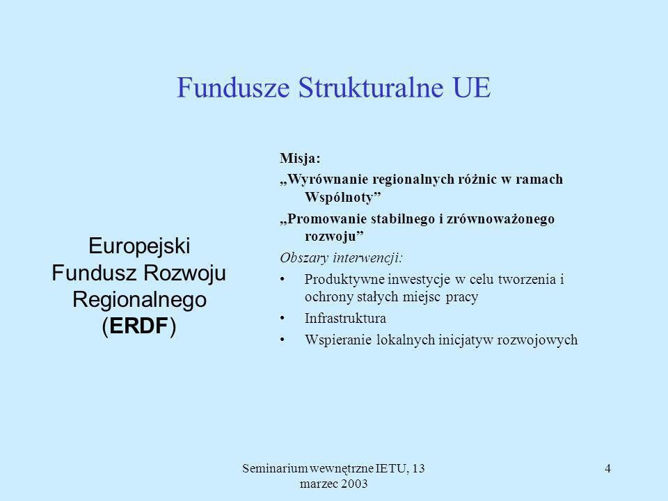 Seminarium wewnętrzne IETU, 13 marzec 2003 3 Fundusze Strukturalne UE Europejski Fundusz Rozwoju Regionalnego (ERDF) Europejski Fundusz Społeczny (ESF) Instrument Finansowy Ukierunkowania Rybołówstwa (FIFG) Europejski Fundusz Orientacji i Gwarancji Rolnej (EAGGF)