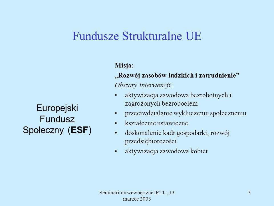 Seminarium wewnętrzne IETU, 13 marzec 2003 5 Misja: Rozwój zasobów ludzkich i zatrudnienie Obszary interwencji: aktywizacja zawodowa bezrobotnych i zagrożonych bezrobociem przeciwdziałanie wykluczeniu społecznemu kształcenie ustawiczne doskonalenie kadr gospodarki, rozwój przedsiębiorczości aktywizacja zawodowa kobiet Fundusze Strukturalne UE Europejski Fundusz Społeczny (ESF)