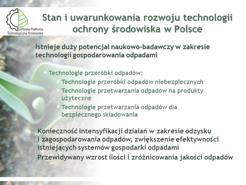 Stan i uwarunkowania rozwoju technologii ochrony środowiska w Polsce Technologie przeróbki odpadów: Technologie przeróbki odpadów niebezpiecznych Tech