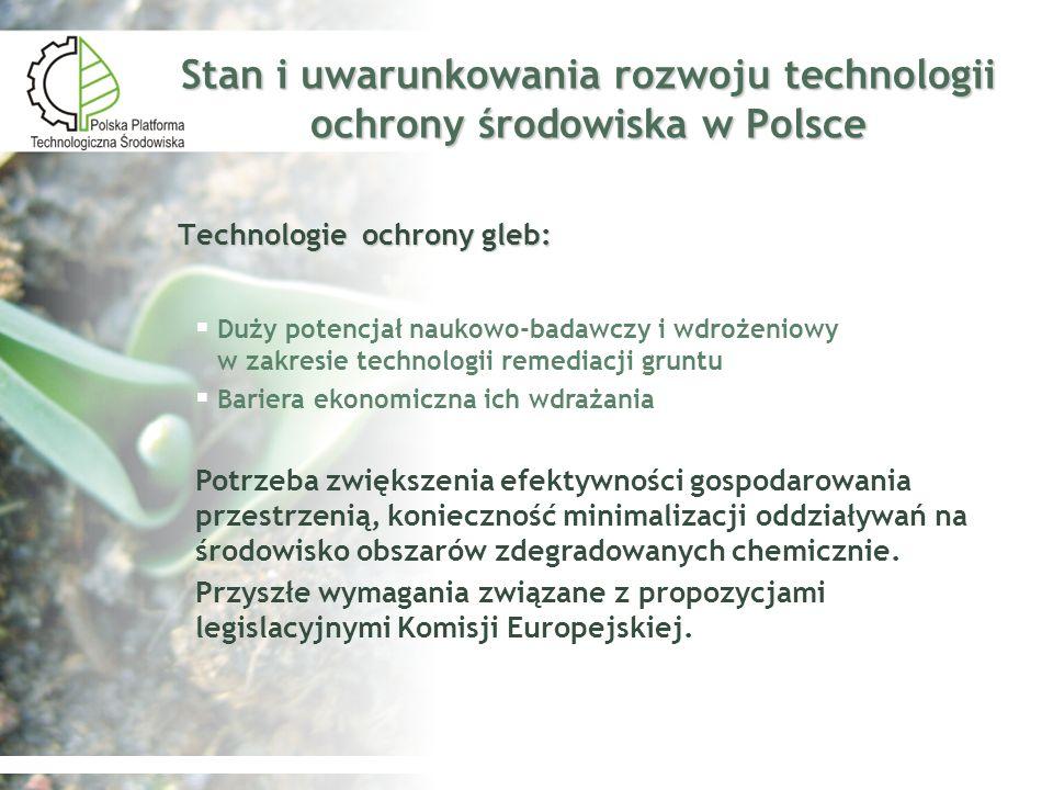 Stan i uwarunkowania rozwoju technologii ochrony środowiska w Polsce Technologie ochrony gleb: Duży potencjał naukowo-badawczy i wdrożeniowy w zakresi