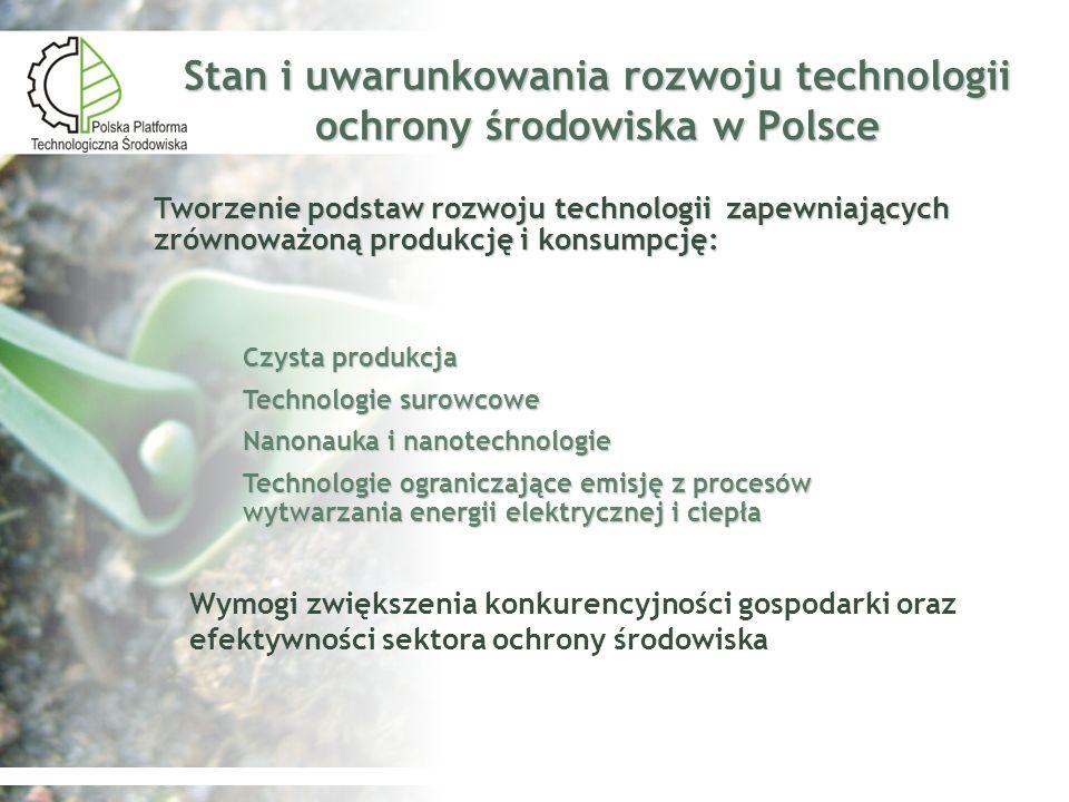 Stan i uwarunkowania rozwoju technologii ochrony środowiska w Polsce Czysta produkcja Technologie surowcowe Nanonauka i nanotechnologie Technologie og