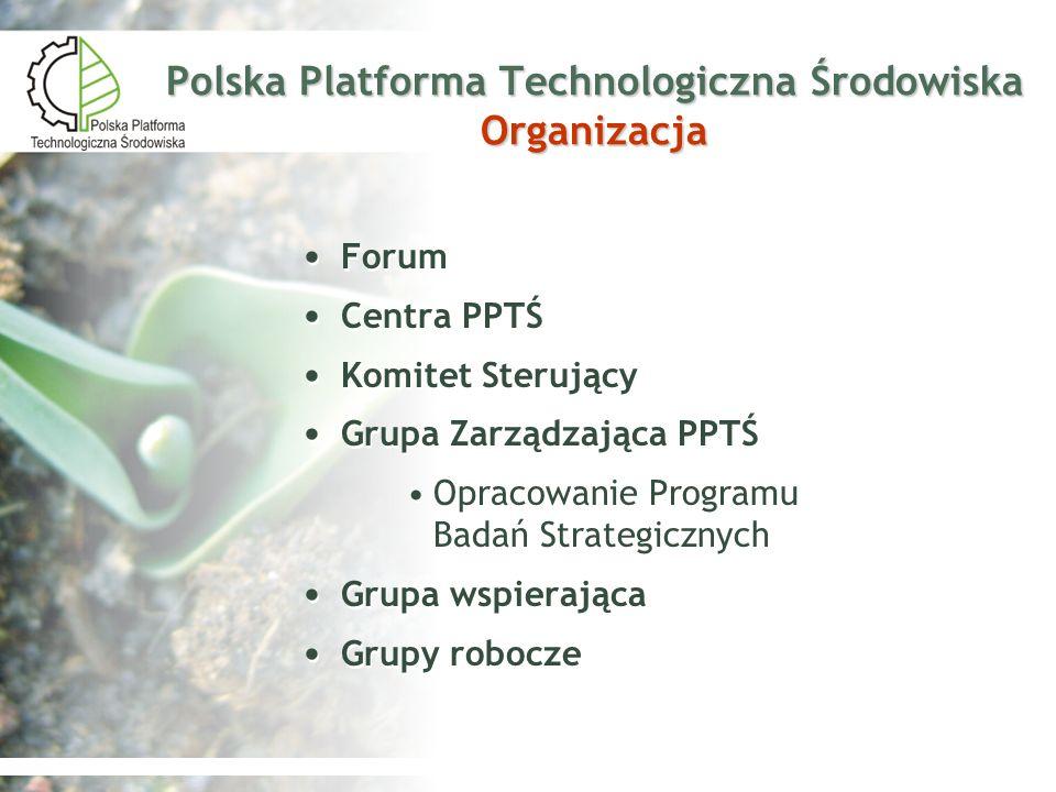 Polska Platforma Technologiczna Środowiska Organizacja Forum Centra PPTŚ Komitet Sterujący Grupa Zarządzająca PPTŚ Opracowanie Programu Badań Strategi