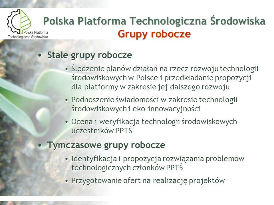 Polska Platforma Technologiczna Środowiska Grupy robocze Stałe grupy robocze Śledzenie planów działań na rzecz rozwoju technologii środowiskowych w Po