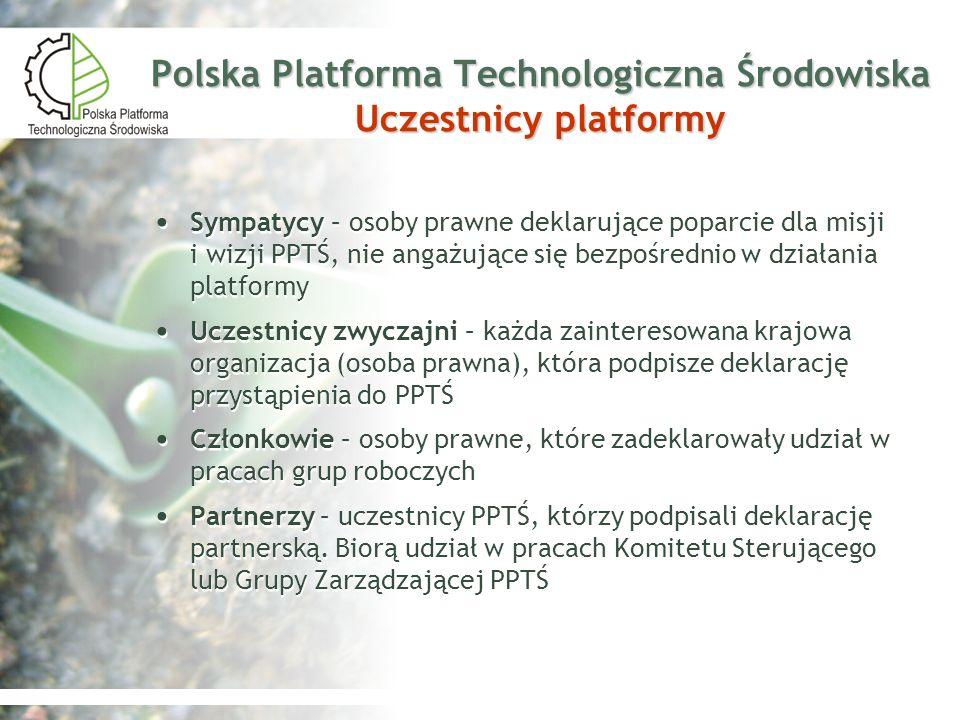 Polska Platforma Technologiczna Środowiska Uczestnicy platformy Sympatycy – osoby prawne deklarujące poparcie dla misji i wizji PPTŚ, nie angażujące s