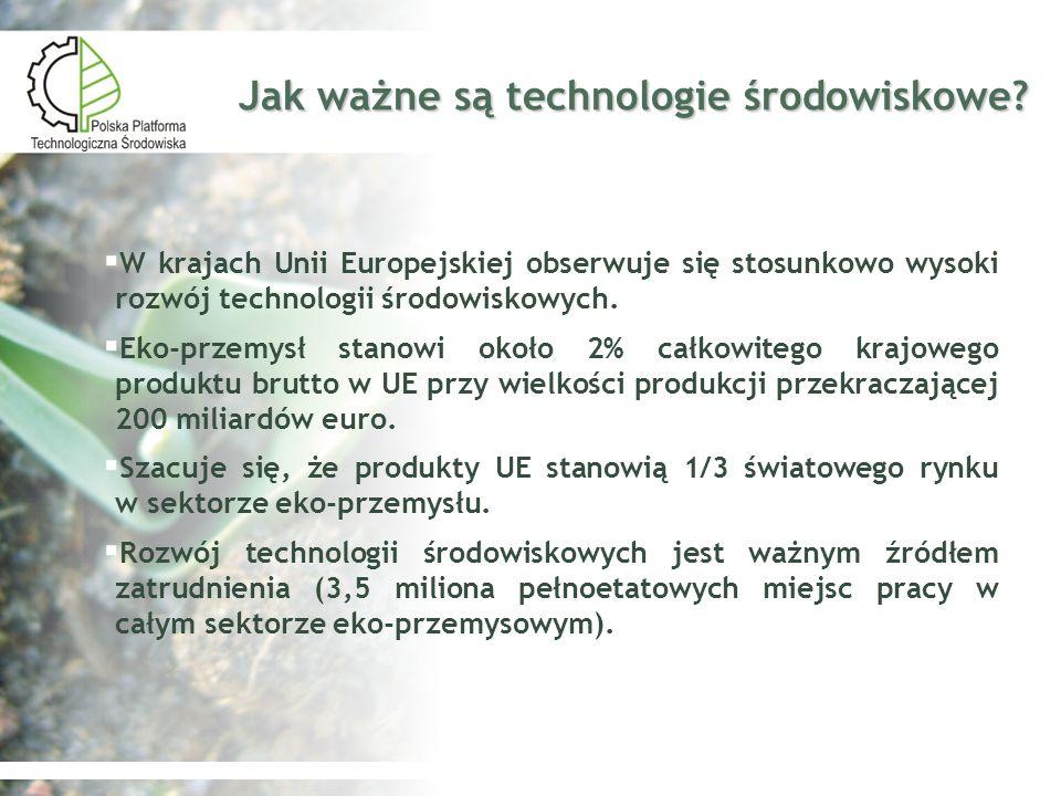 Polska Platforma Technologiczna Środowiska Zadania 2006 2006 Zidentyfikowano interesariuszy platformy oraz powołano Grupę Założycielską Zidentyfikowano interesariuszy platformy oraz powołano Grupę Założycielską Dokonano analizy rozwoju technologii środowiskowych w Polsce Dokonano analizy rozwoju technologii środowiskowych w Polsce Opracowano wizję Polskiej Platformy Technologicznej Środowiska (dokument roboczy, w trakcie konsultacji) Opracowano wizję Polskiej Platformy Technologicznej Środowiska (dokument roboczy, w trakcie konsultacji) Opracowano założenia struktury organizacyjnej platformy Opracowano założenia struktury organizacyjnej platformy2007 Opracowanie Programu Badań Strategicznych w oparciu o foresight technologii ochrony środowiska Opracowanie Programu Badań Strategicznych w oparciu o foresight technologii ochrony środowiska Wdrożenie i realizacja zadań Wdrożenie i realizacja zadań