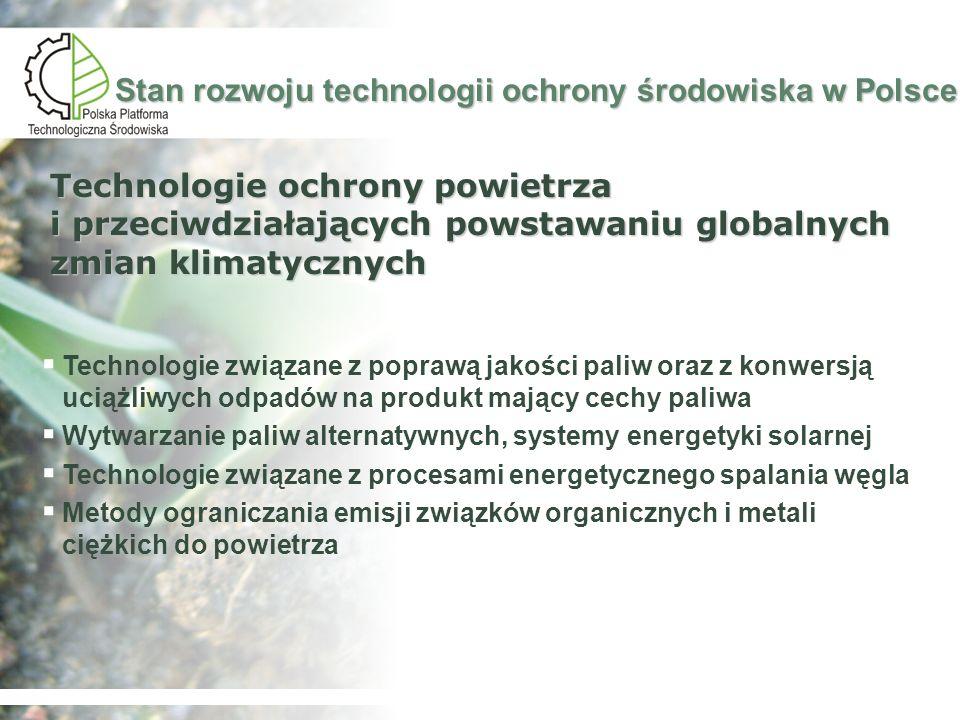 Stan rozwoju technologii ochrony środowiska w Polsce Technologie zapewniające zrównoważoną produkcję i konsumpcję: Czysta produkcja Technologie surowcowe Nanonauka i nanotechnologie Technologie ograniczające emisję z procesów wytwarzania energii elektrycznej i ciepła Technologie przeróbki odpadów: Technologie przeróbki odpadów niebezpiecznych Technologie przetwarzania odpadów na produkty użyteczne Technologie przetwarzania odpadów dla bezpiecznego składowania Słabe rozpoznanie
