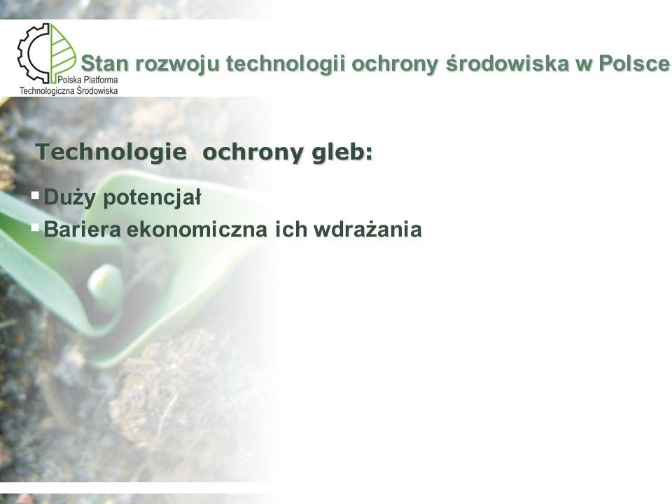 Analiza SWOT technologii ochrony środowiska w Polsce Mocne strony Duża podaż wykształconych pracowników Stosunkowo nowa i regularnie rozbudowywana infrastruktura informatyczna Potencjał rozwoju technologii oczyszczania ścieków, zagospodarowania odpadów oraz technologii remediacji Zwiększenie popytu na technologie ochrony środowiska z uwagi na wysoki stopień zużycia infrastruktury technicznej niedostosowanej do europejskich standardów XXIw Słabe strony Niski udział wytworzonych innowacyjnych produktów w produkcji sprzedanej Niewystarczające promocja polskich marek handlowych i firmowych Słaba współpraca między przedsiębiorcami oraz pomiędzy przedsiębiorcami a jednostkami naukowymi Niewielka liczba udzielonych patentów Niewystarczające zainteresowanie naukowców prowadzeniem badań stosowanych i prac rozwojowych