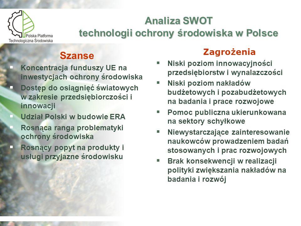 Polska Platforma Technologiczna Środowiska Korzyści Zapewnienie otwartości i przejrzystości – udział szerokiego grona partnerów zwiększy ich wydajność i efektywność Zapewnienie otwartości i przejrzystości – udział szerokiego grona partnerów zwiększy ich wydajność i efektywność Wzrost świadomości - edukacja i szkolenia zapewniają rozwijanie umiejętności niezbędnych do wdrożenia technologii Wzrost świadomości - edukacja i szkolenia zapewniają rozwijanie umiejętności niezbędnych do wdrożenia technologii Zagwarantowanie udziału małych i średnich przedsiębiorstw (MŚP) oraz uwzględnienie ich potrzeb i ograniczeń w działalności platformy Zagwarantowanie udziału małych i średnich przedsiębiorstw (MŚP) oraz uwzględnienie ich potrzeb i ograniczeń w działalności platformy