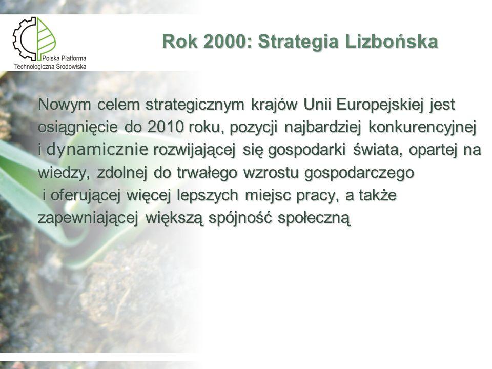 Narzędzia Strategii Lizbońskiej Europejska Przestrzeń Badawcza (European Research Area – ERA) Europejska Przestrzeń Badawcza (European Research Area – ERA) Szósty Program Ramowy Unii Europejskiej Badań, Rozwoju Technologicznego oraz Prezentacji wspomagający Tworzenie Europejskich Obszarów Badawczych oraz Innowacje (2002- 2006) Szósty Program Ramowy Unii Europejskiej Badań, Rozwoju Technologicznego oraz Prezentacji wspomagający Tworzenie Europejskich Obszarów Badawczych oraz Innowacje (2002- 2006) Unijny program działań środowiskowych na lata 2001-2010 – Środowisko 2010: Nasza przyszłość, nasz wybór Unijny program działań środowiskowych na lata 2001-2010 – Środowisko 2010: Nasza przyszłość, nasz wybór Plan Działań na rzecz Technologii Środowiskowych (Environmental Technology Action Plan – ETAP) Plan Działań na rzecz Technologii Środowiskowych (Environmental Technology Action Plan – ETAP)