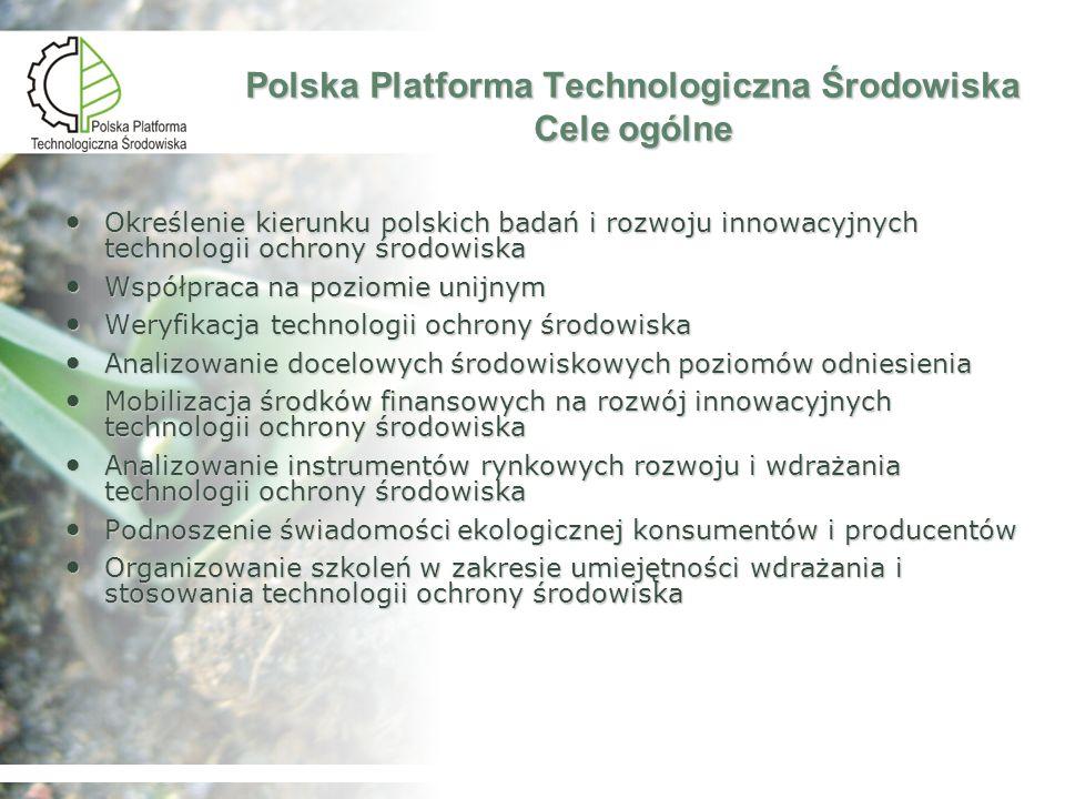 Polska Platforma Technologiczna Środowiska Podstawowe zasady Dobrowolny udział w platformie Brak sterowania przez organ administracyjny Dobrowolny udział w platformie Brak sterowania przez organ administracyjny
