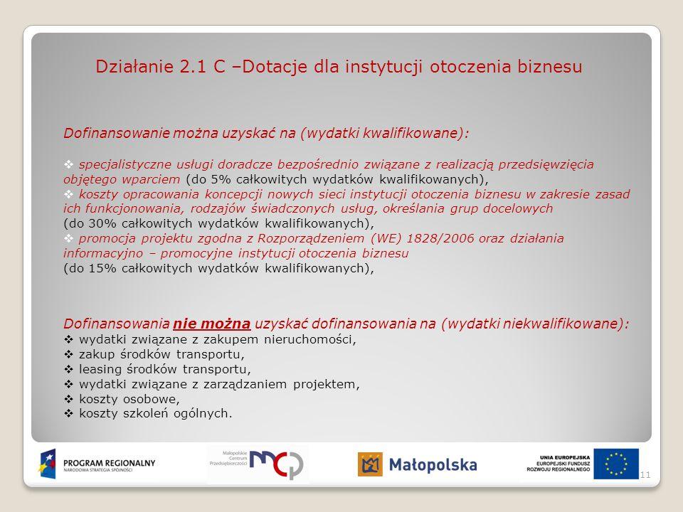 Działanie 2.1 C –Dotacje dla instytucji otoczenia biznesu Dofinansowanie można uzyskać na (wydatki kwalifikowane): specjalistyczne usługi doradcze bez