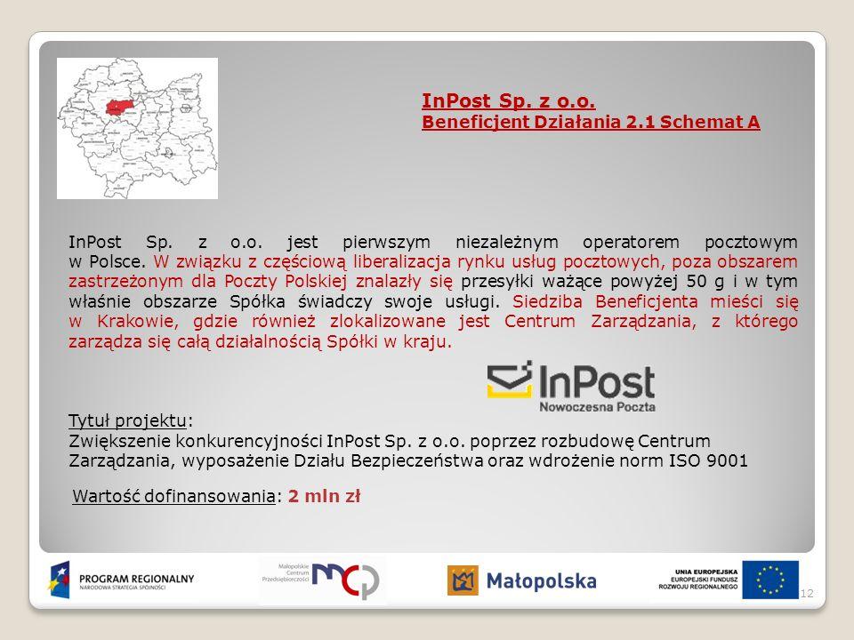 InPost Sp. z o.o. Beneficjent Działania 2.1 Schemat A InPost Sp. z o.o. jest pierwszym niezależnym operatorem pocztowym w Polsce. W związku z częściow