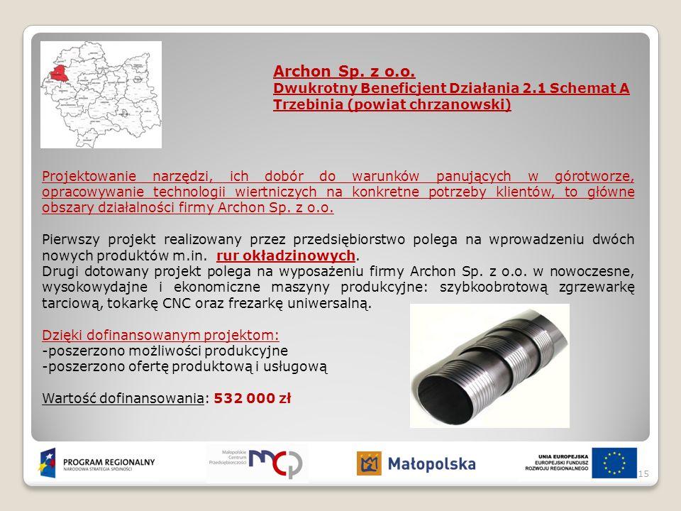 Archon Sp. z o.o. Dwukrotny Beneficjent Działania 2.1 Schemat A Trzebinia (powiat chrzanowski) Projektowanie narzędzi, ich dobór do warunków panującyc