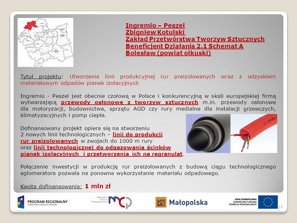 Ingremio – Peszel Zbigniew Kotulski Zakład Przetwórstwa Tworzyw Sztucznych Beneficjent Działania 2.1 Schemat A Bolesław (powiat olkuski) Tytuł projekt