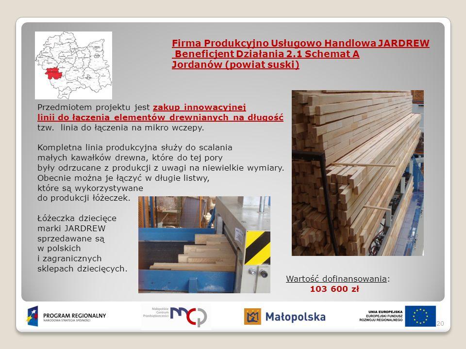 Przedmiotem projektu jest zakup innowacyjnej linii do łączenia elementów drewnianych na długość tzw. linia do łączenia na mikro wczepy. Kompletna lini