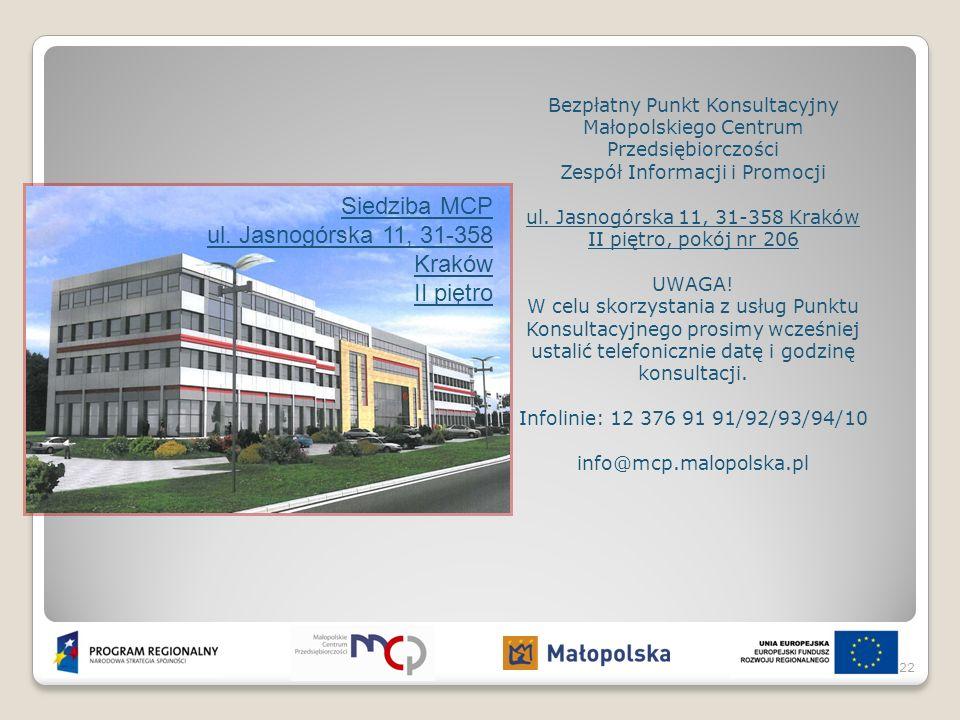 Bezpłatny Punkt Konsultacyjny Małopolskiego Centrum Przedsiębiorczości Zespół Informacji i Promocji ul. Jasnogórska 11, 31-358 Kraków II piętro, pokój