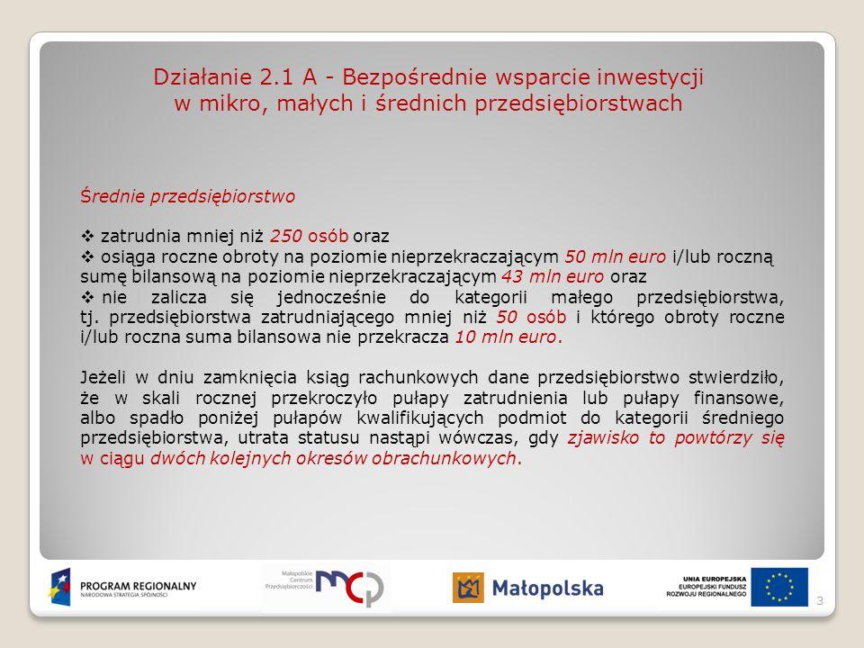 Działanie 2.1 A - Bezpośrednie wsparcie inwestycji w mikro, małych i średnich przedsiębiorstwach Poziom dofinansowania projektów: Maksymalny udział dofinansowania w wydatkach kwalifikowanych dla projektów inwestycyjnych średnich przedsiębiorstw wynosi 30%.