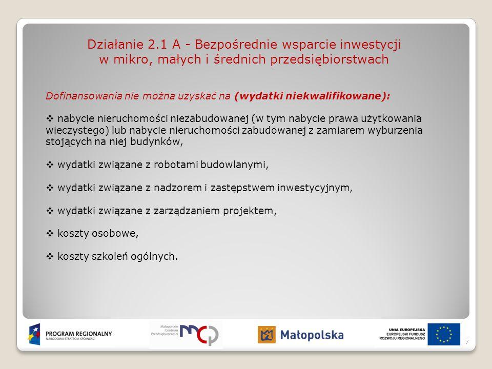 Działanie 2.1 A - Bezpośrednie wsparcie inwestycji w mikro, małych i średnich przedsiębiorstwach Dofinansowania nie można uzyskać na (wydatki niekwali