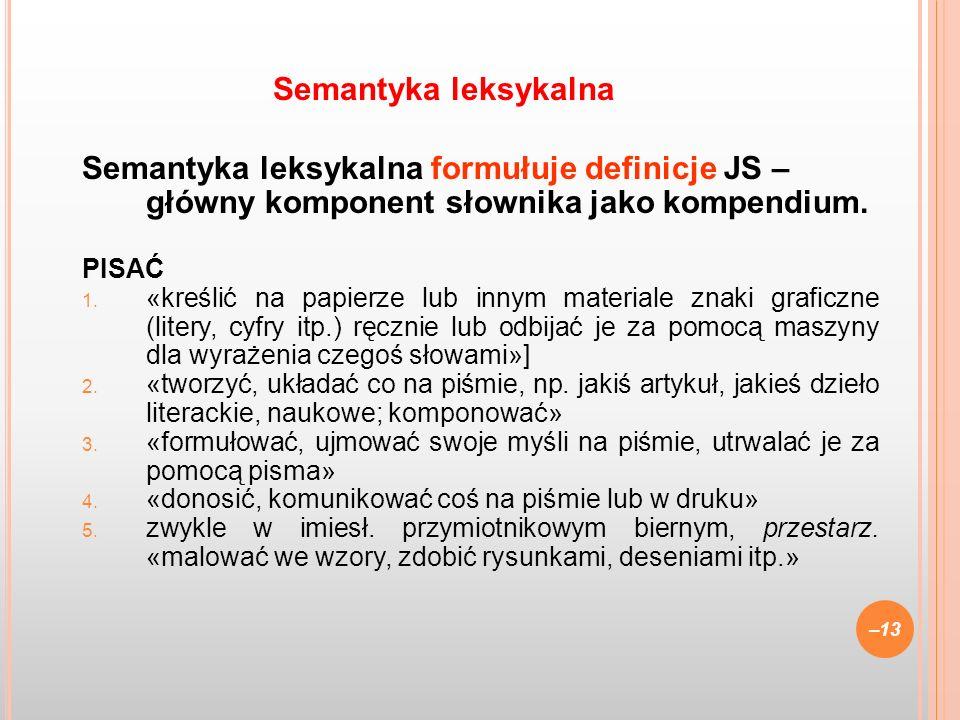 Semantyka leksykalna formułuje definicje JS – główny komponent słownika jako kompendium. PISAĆ 1. «kreślić na papierze lub innym materiale znaki grafi