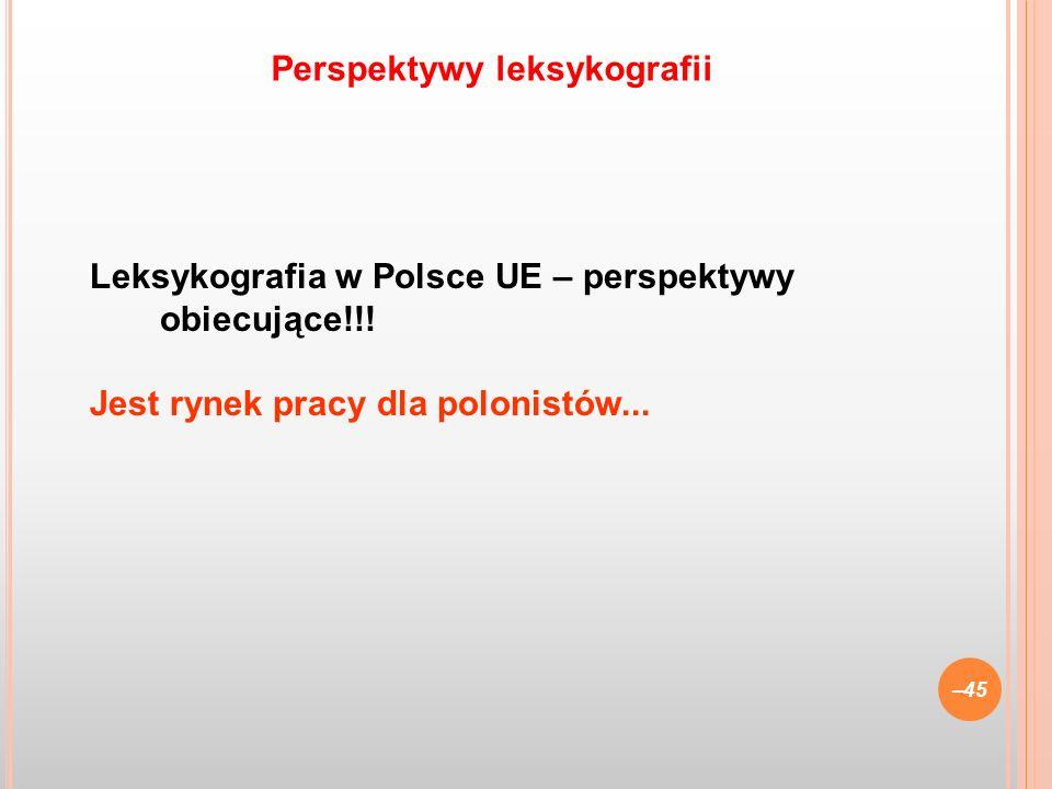 Leksykografia w Polsce UE – perspektywy obiecujące!!! Jest rynek pracy dla polonistów... –45 Perspektywy leksykografii