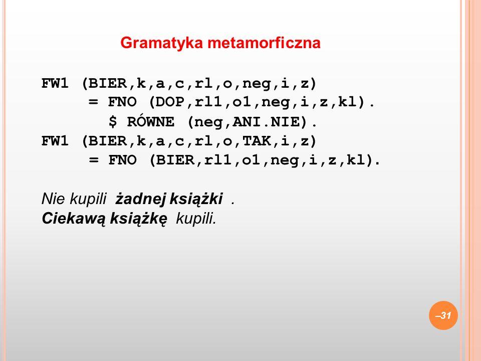 FW1 (BIER,k,a,c,rl,o,neg,i,z) = FNO (DOP,rl1,o1,neg,i,z,kl). $ RÓWNE (neg,ANI.NIE). FW1 (BIER,k,a,c,rl,o,TAK,i,z) = FNO (BIER,rl1,o1,neg,i,z,kl). Nie