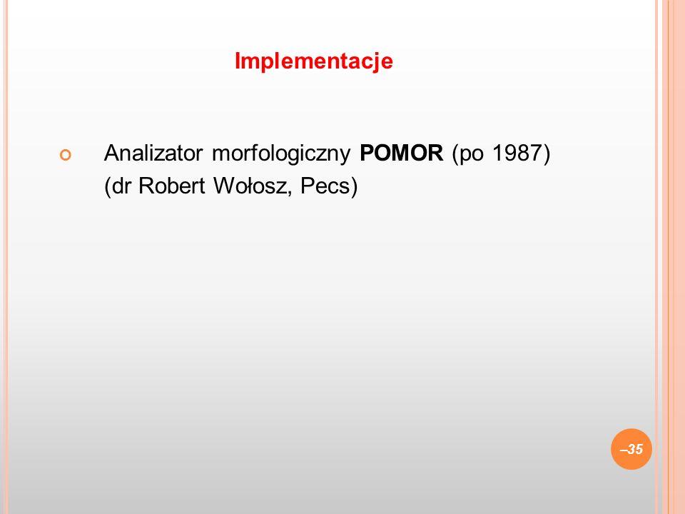 Analizator morfologiczny POMOR (po 1987) (dr Robert Wołosz, Pecs) –35 Implementacje